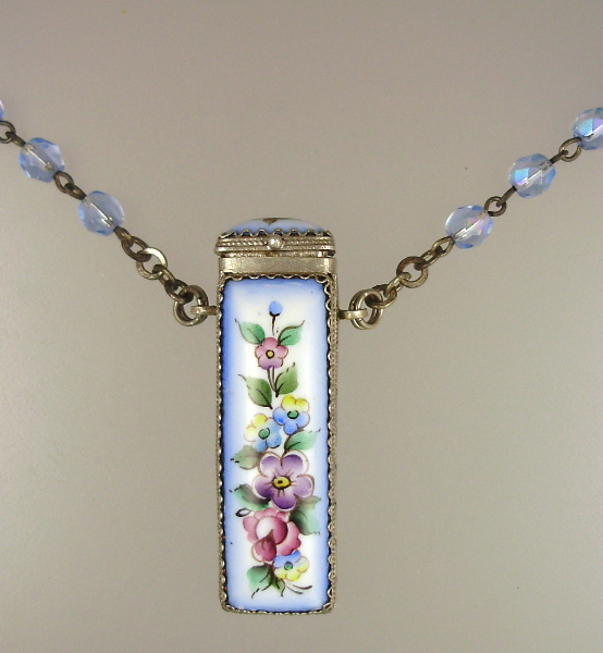 FRENCH Antique Painted Porcelain  Floral ROSE VINAIGRETTE Pendant Necklace Blue Aurora Borealis Crystal Beads-n-vingr