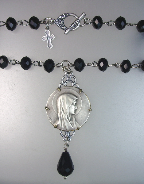 Antique Black CRYSTAL Bead CROSS Pendant Necklace VIRGIN MARY  CROSS-n-vmbk