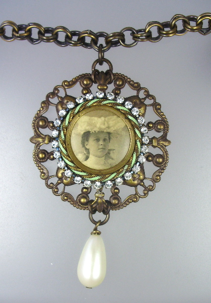 Antique Mint Green GUILLOCHE Enamel  Victorian WOMAN Photo CHARM Necklace PENDANT Pearl Drop-n-vtw
