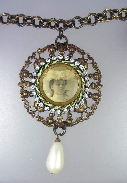 Antique Mint Green GUILLOCHE Enamel  Victorian WOMAN Photo CHARM Necklace PENDANT Pearl Drop-n-vtw