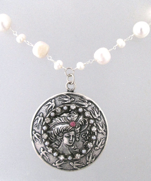 Large ART NOUVEAU Style Silver WOMAN w Hat BIRDS Medal Freshwater PEARLS NECKLACE Rhinestones-n-what