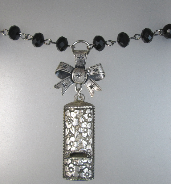 Vintage SILVER Floral WHISTLE Charm BOW Black Crystal Necklace-n-whst