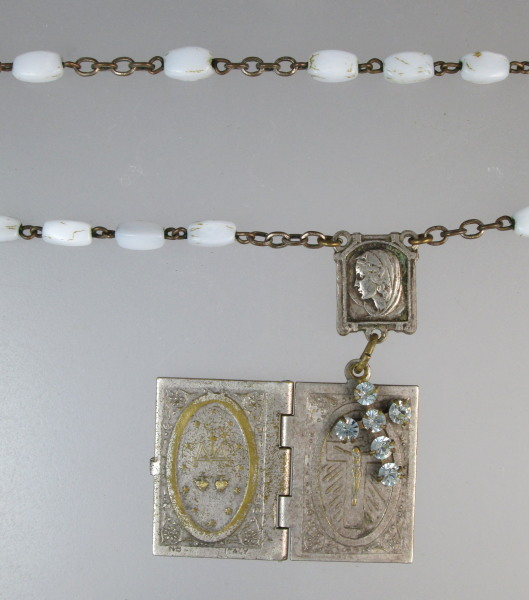 Antique C1890 JESUS St Christopher LOURDES Souvenir Book LOCKET White ROSARY Beads CROSS-n-whtbk