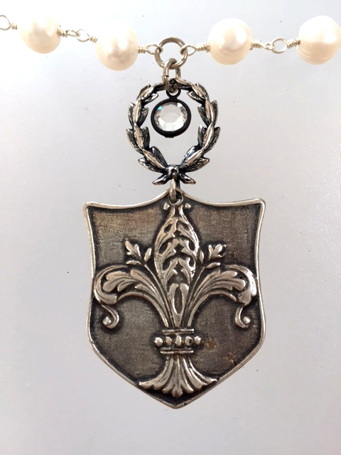 FRENCH Silver Watch Fob Tag FLEUR de LIS Crown ROSES Wreath Charm PEARL Necklace-n-wsfob