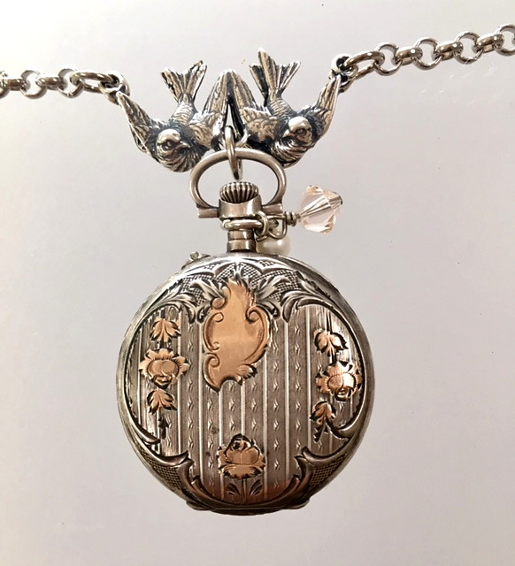 PARIS Antique FRENCH Enamel Face Sterling Silver ROSE Gold REPOUSSE WATCH Necklace Pendant BIRDS-n-wtchsg
