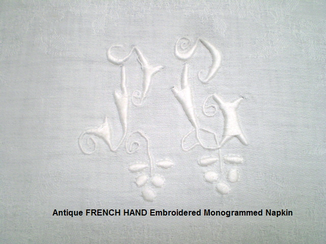6 AvailableFRENCH White Rose DAMASK LINEN Monogram NAPKINPG-nappg