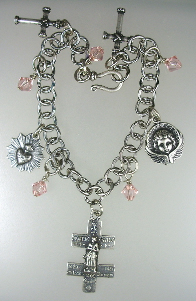 French Religious CHARM BRACELET Necklace St JOAN of ARC Cross LORRAINE Sacred HEART Angel-nb-c4-p167-25