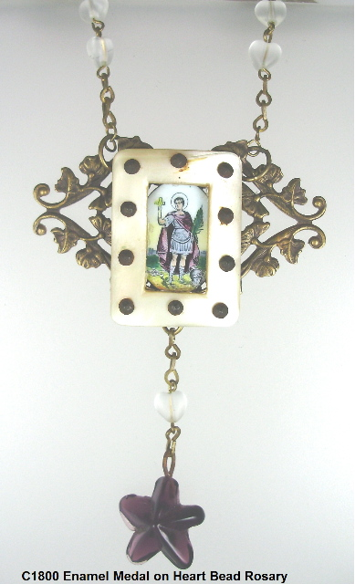 C1800 Italian Enamel Medal Necklace Pendant on French Rosary with Glass Bead HEARTS Star-nk1800heartros