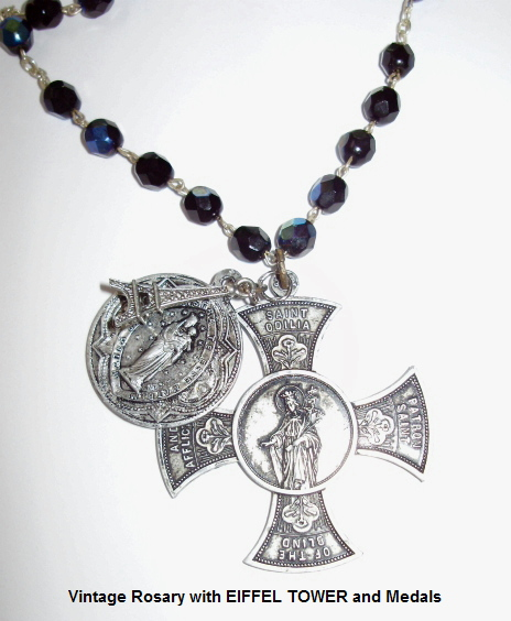 Vintage Italy AB ROSARY BEADS Silver Medal with w Cross Eiffel Tower -nkblkab