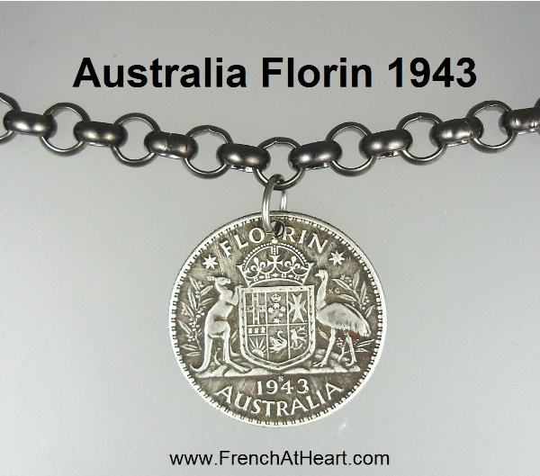 1943 AUSTRALIA Sterling Silver FLORIN Coin Medal Pendant Necklace-nm-din