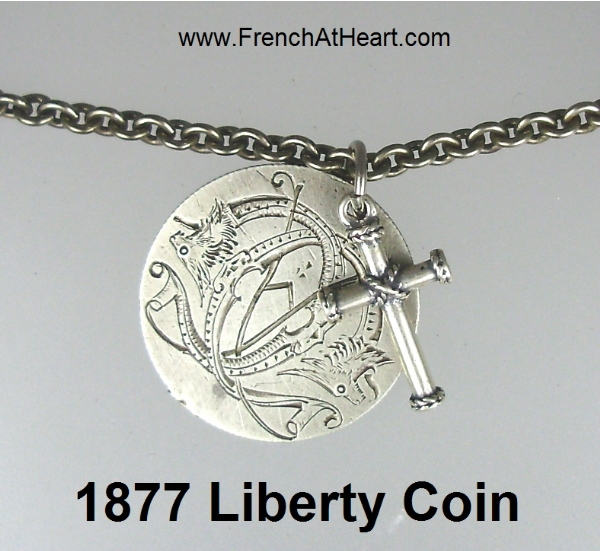 American 1877 Silver Liberty Seated Coin Pendant Necklace-nm-lib