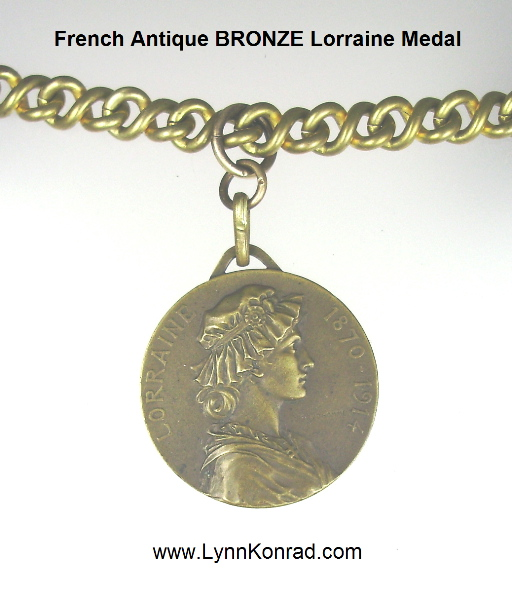 Antique FRENCH Bronze Medal LORRAINE 1870-1914 Pendant Necklace Vintage Link Chain-nm-lorr
