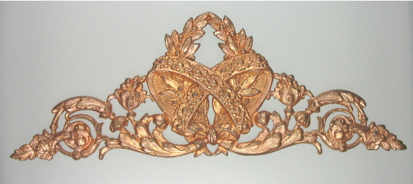 Antique 19th Century  French Copper Ormolu  HEART Laurel Branch Florals Motif Vintage-o-hrt