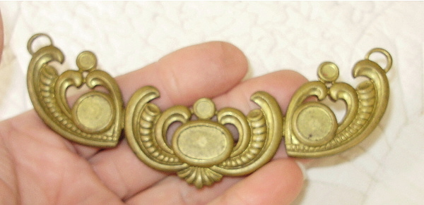 Antique ART DECO French BRASS Ormolu  Floral SWAG-005ad