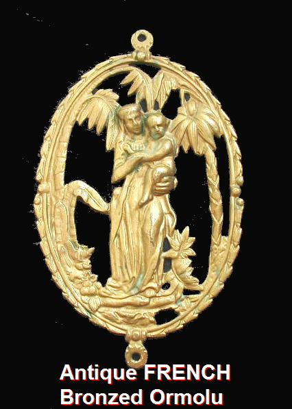 Antique French BRONZE Virgin MARY Baby JESUS Ormolu Palm Trees Plaque-oovirginbb