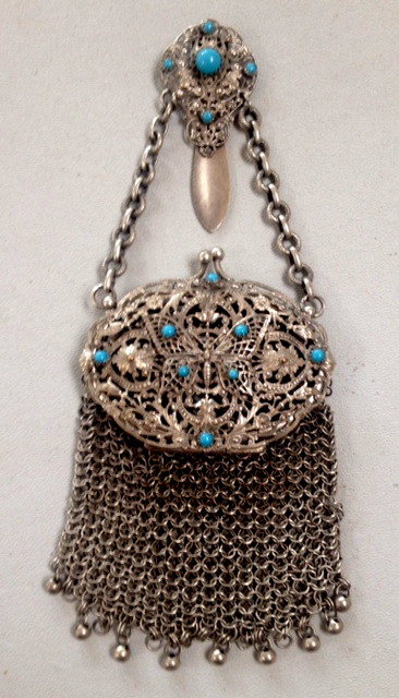 FRENCH Antique ART NOUVEAU Silver CHATELAINE Filigree BUTTERFLY PURSE-p-butt