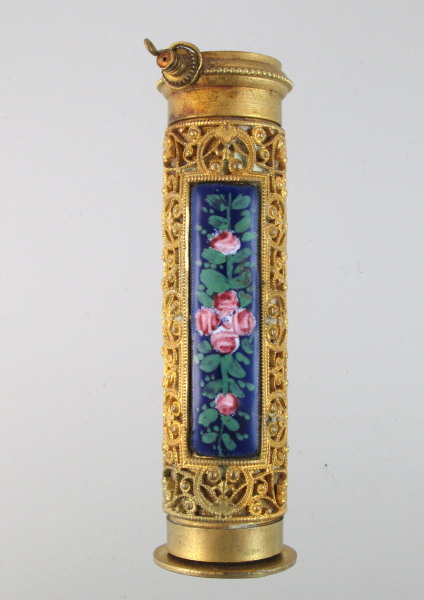 Antique FRENCH Enamel ROSES Gilt Filigree PERFUME Bottle JACKY-p-jac