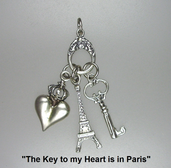 """The Key to my HEART is in PARIS""  Charms Trio STERLING Silver Pendant Necklace EIFFEL TOWER -p-trio"