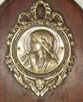 Religious ANTIQUE Silver Wood LOURDES VIRGIN MARY Reliquary Plaque w ANGEL-plqvm