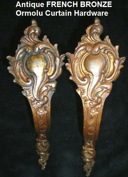 PAIR PR of 2 FRENCH Antique BRONZE Ormolu Curtain CARTOUCHE/Scroll-pp2t