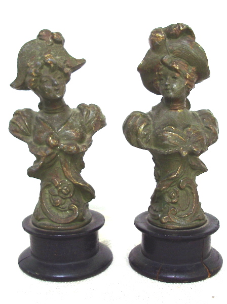 PAIR Antique FRENCH Art NOUVEAU Woman Cast Iron STATUES Wood Bases-pranstat