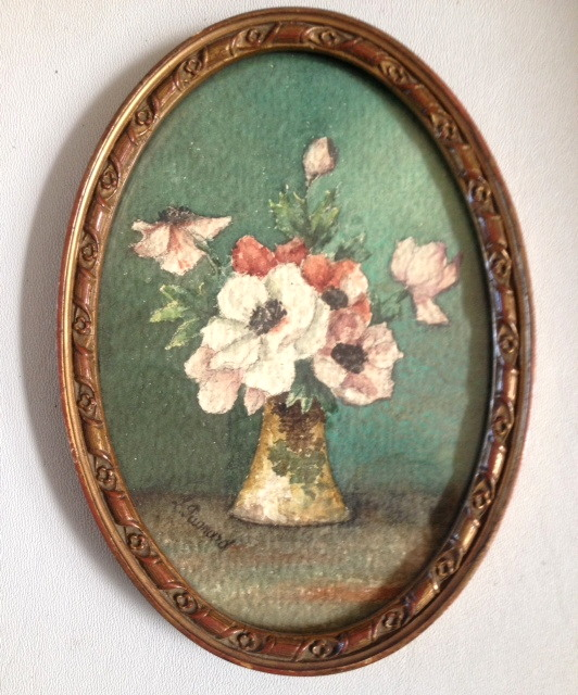 PARIS Original FRENCH Signed Framed WATERCOLOR under Glass ROSES-pt-pan