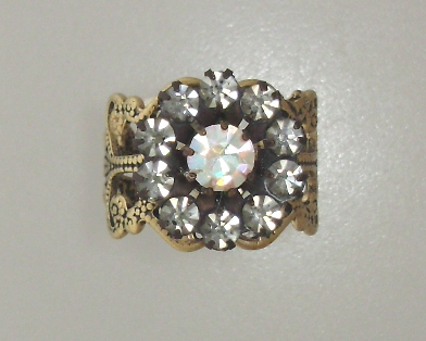 1 Size Filigree RING with Black Diamond Aurora Borealis RHINESTONES-r-abbd