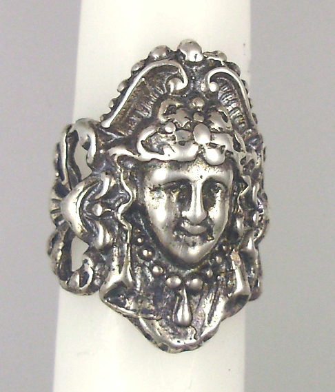 FRENCH Repousse Art Nouveau STERLING Silverplate RING Womans Face-r-an