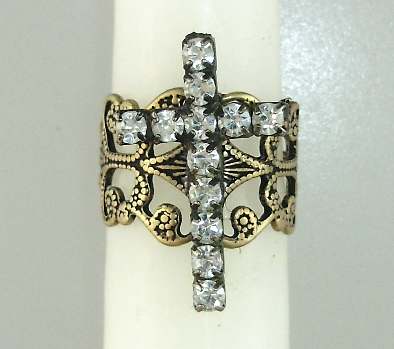 BRONZE Filigree Band RHINESTONE CROSS Ring One Size-r-bcrs