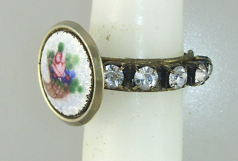 ANTIQUE Brass Filigree RING with GUILLOCHE Enamel Pink ROSES Basket RHINESTONES-r-bsk
