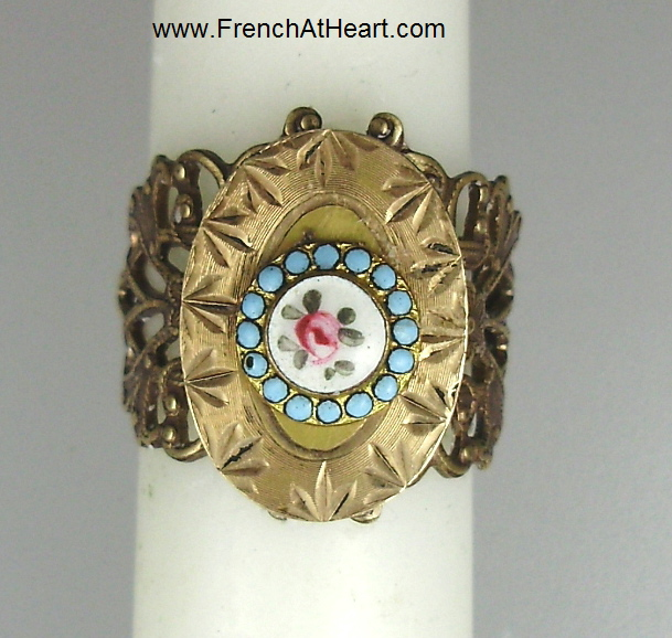 1 Size Ornate Filigree Brass RING with Antique FRENCH Enamel Rose and Gold Filled Plate-r-eb