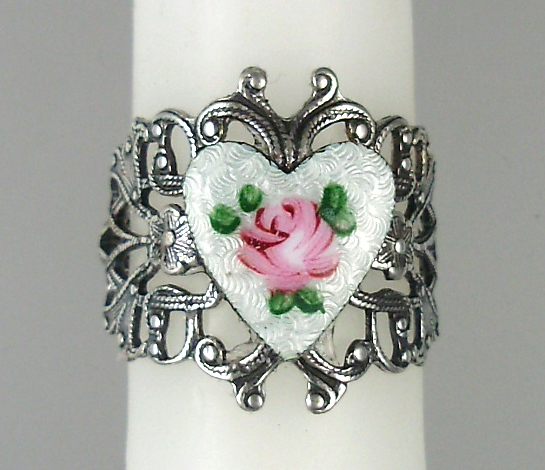 Antique French GUILLOCHE Enamel HEART PINK ROSE SILVER Filigree RING-r-guib