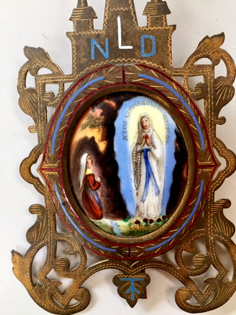 FRENCH Religious Antique LOURDES Porcelain PAINTED Reliquary Brass ENAMEL Gothic Frame -r-lou