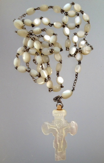 Religious Antique French MOTHER of PEARL Rosary Beads MOP-r-mop