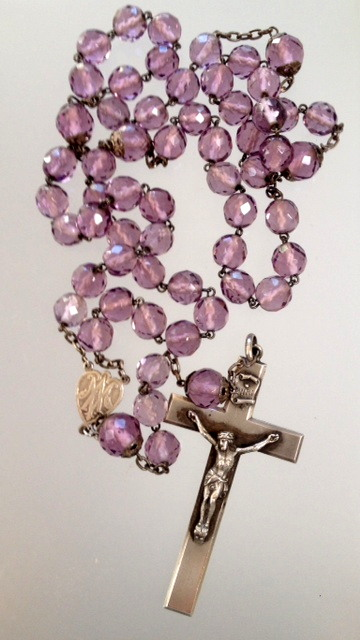 Large Religious Antique French STERLING Silver PURPLE Crystal ROSARY BEADS-r-prp