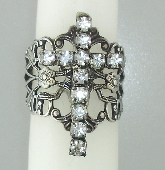 STERLING  Silverplated Filigree Band RHINESTONE CROSS Ring One Size-r-rc