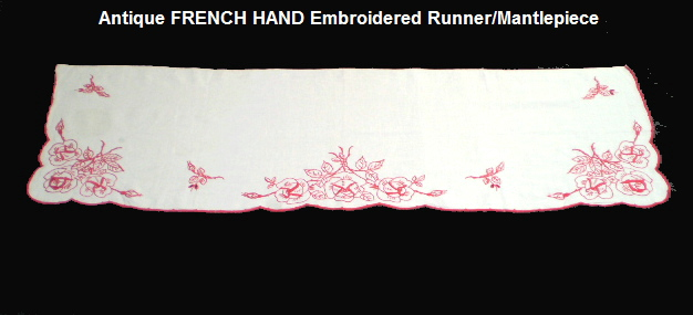 FRENCH Vintage Antique RED Hand Embroidered ROSE Runner-redroserun