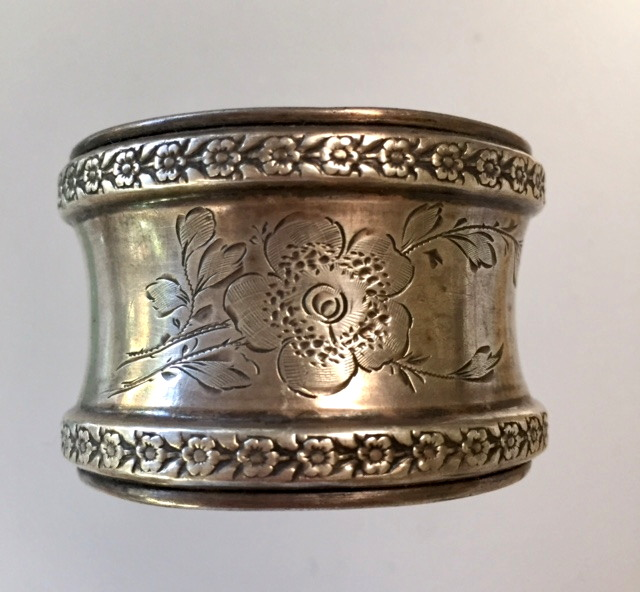 Dated 1902 Antique FRENCH Sterling 800 SILVER Souvenir Floral Napkin Ring-ring1902