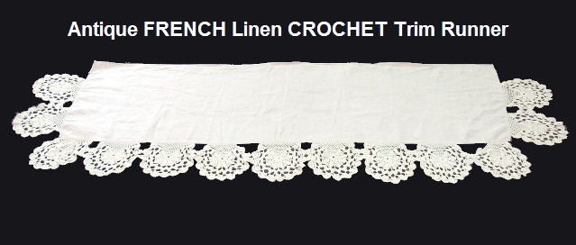 FRENCH Antique Vintage Linen Table LACE RUNNER Dresser-runfrncro