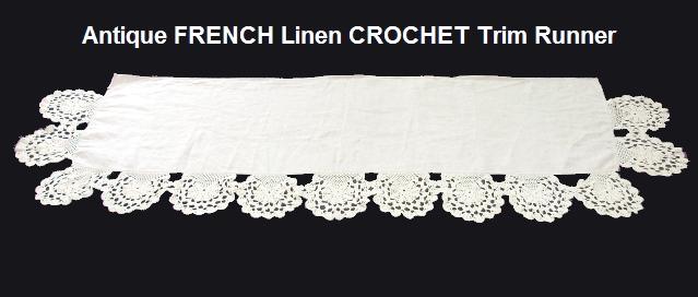 FRENCH Antique Vintage Linen Table LACE RUNNER Dresser-runfrncro