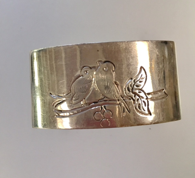 Antique French SILVER BIRDS Cherries Napkin Ring-s-bird