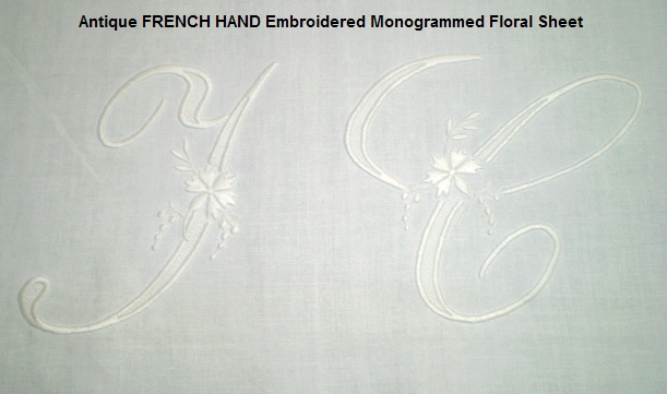 FRENCH Embroidered Antique White LINEN SHEET W MONOGRAM-shtjcnh