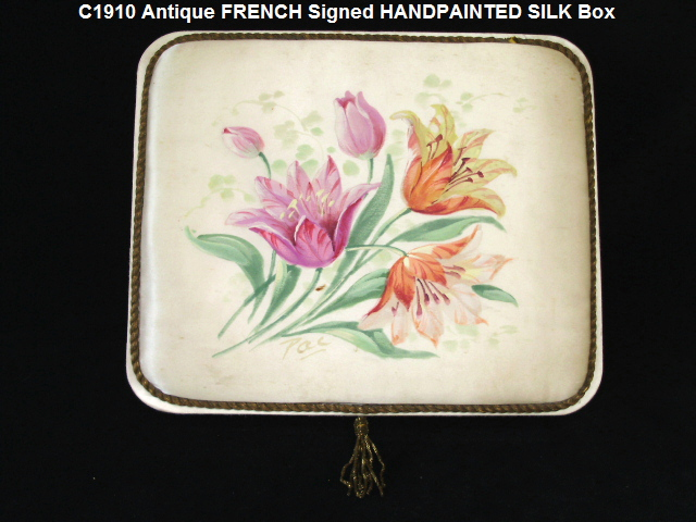 FRENCH Antique Vintage Silk FABRIC BOX HAND Painted TULIPS-silkbox