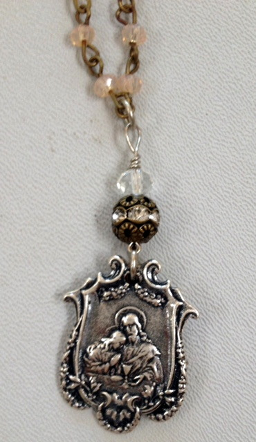FRENCH Silver FIRST COMMUNION Pearl NecklaceBronze CROSS Chalice-n-sldc-bs