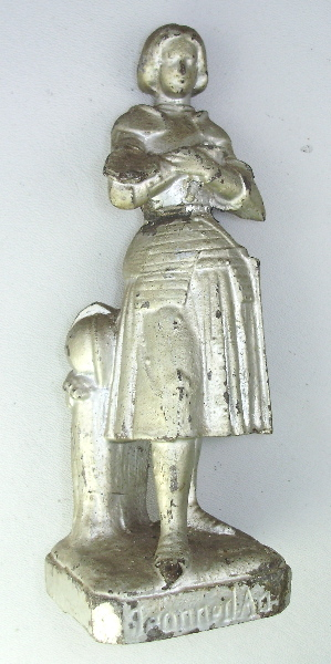 Antique FRENCH  Saint JOAN of ARC Silver STATUE-slvja