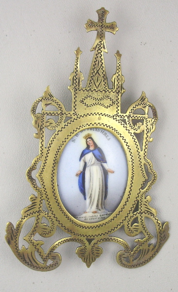 FRENCH Religious Antique NOTRE DAME De FOURVIERES Porcelain PAINTED Reliquary Brass GOTHIC Frame Easel-stfouv