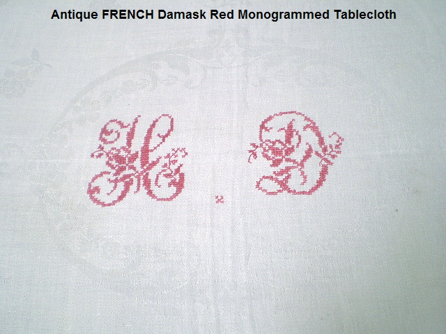 FRENCH Antique Damask LINEN Tablecloth RED MONOGRAM HD- tabhd