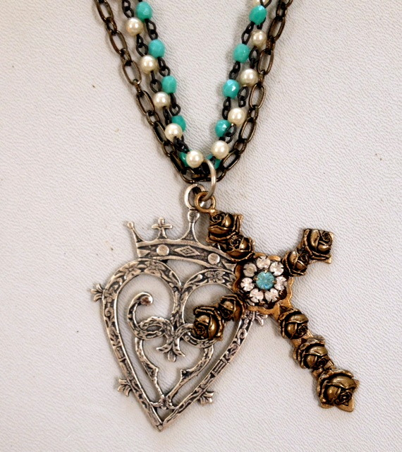 Large Bronze FRENCH Rose Cross Silver LUCKENBOOTH Heart CROWN 3 Strand TIFFANY BLUE Bead Necklace-n-tqcrsluck