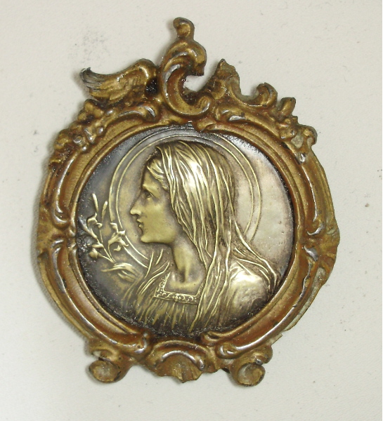 ART NOUVEAU Antique Silver Gilt Framed FRENCH VIRGIN MARY Religious Shrine Plaque Old-vgfrm