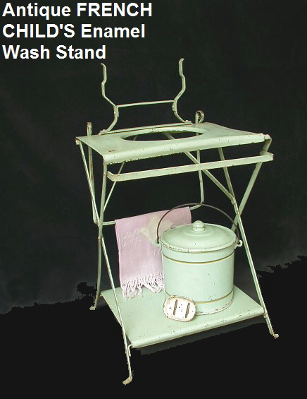 FRENCH Antique 1920s ENAMEL CHILDs Wash Stand Bucket Soapdish Mint Green-wash